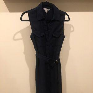 H&M navy belted utility pocket dress mid length 8